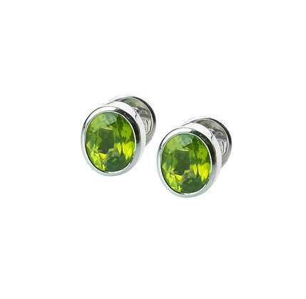 Sterling Silver Bezel Set Peridot Earrings