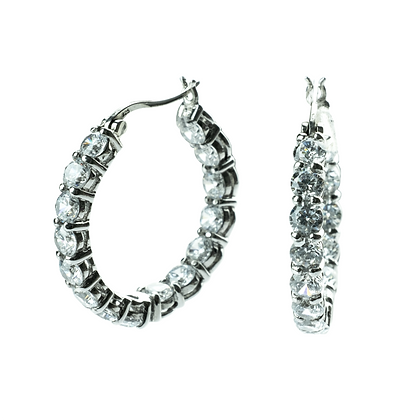 Sterling Silver Hoop Earrings with Diamond Simulant CZ