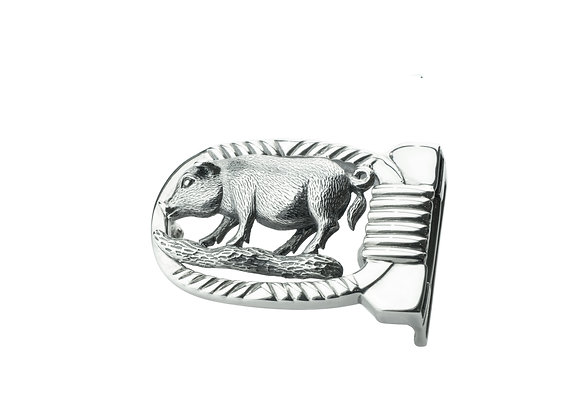 Sterling Silver Pig Belt Buckle