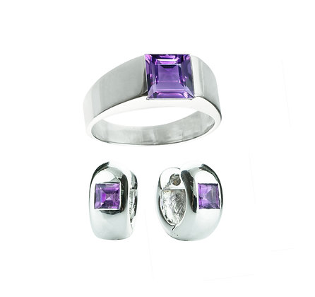 Sterling Silver Amethyst Ring and Earrings