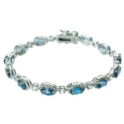 Sterling Silver London Blue Topaz with White Topaz Halo Bracelet