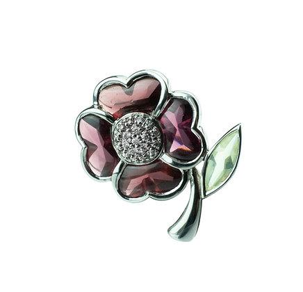 Sterling Silver Flower Brooch with Garnet