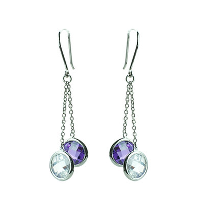 Sterling Silver Dangle Earrings with Diamond Simulant CZ
