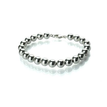 Sterling Silver Bead Bracelet - 8 mm