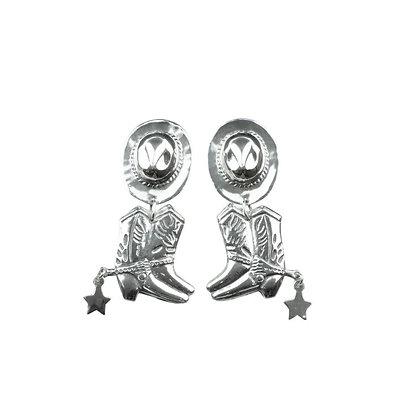Sterling Silver Cowboy Boot Earrings