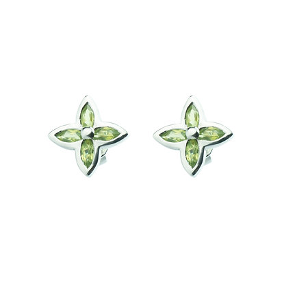 Sterling Silver Peridot Flower Earrings