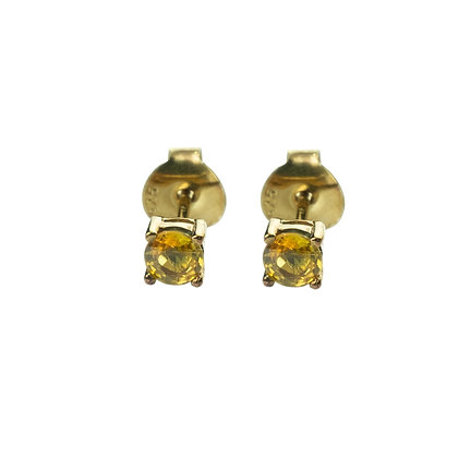Sterling Silver Round Yellow Sapphire Earrings- 4 MM