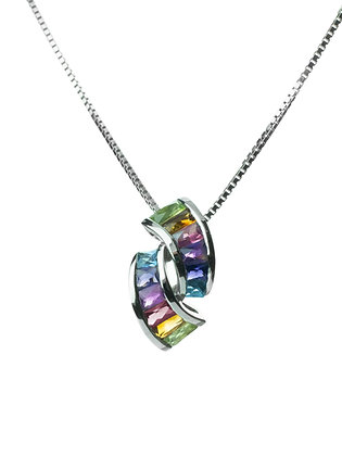 Sterling Silver Multicolored Gemstones Pendant
