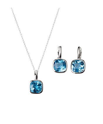 Sterling Silver Swiss Blue Topaz Earrings and Pendant/Enhancer