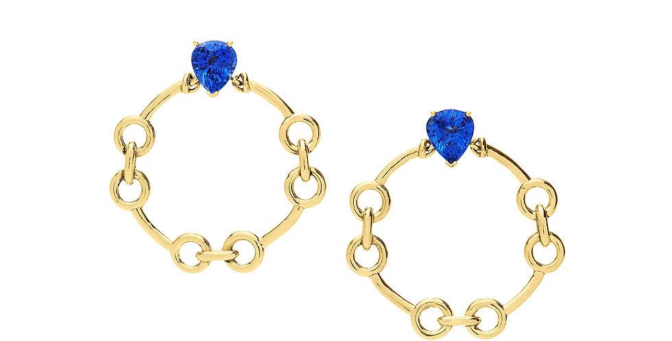 Signature Door Knocker Blue Sapphire Earrings 18KY