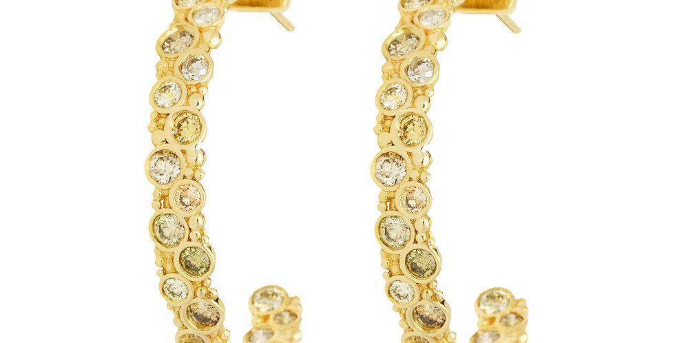Pop Fancy Diamond Hoop Earrings 18KY