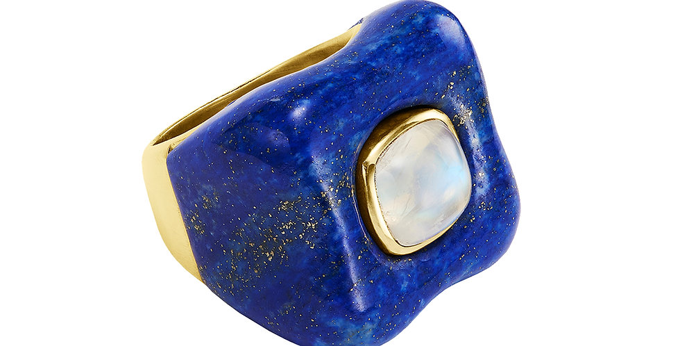 Draper Ring with Moonstone and Lapis 18KY