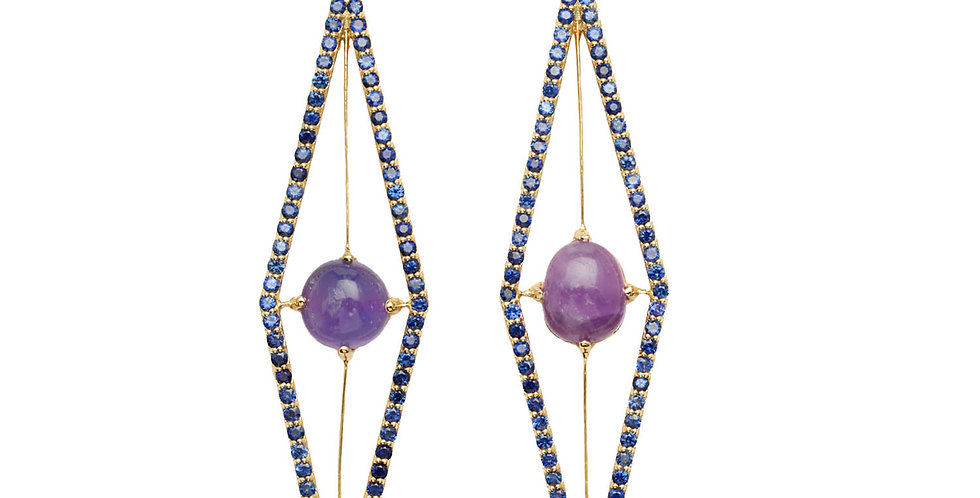 Elongated Hackmanite and Sapphire Drop Earrings 18KY