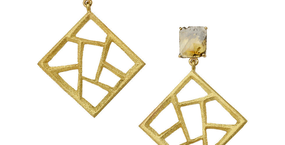 Cubist Fret Drop Earrings and Diamond Slices 18KY