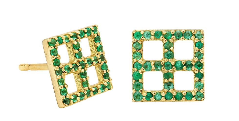 Cubist Emerald Stud Earrings 18KY