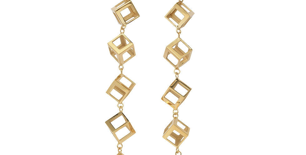 Cubist Box Drop Earrings with Teal Tourmaline 18KY