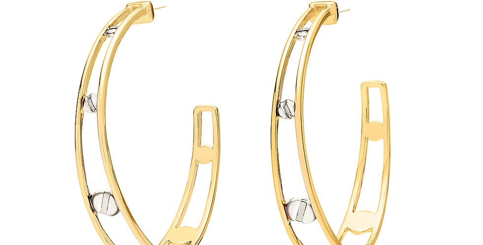 Space Between Rivet Hoop Earrings White Rhodium
