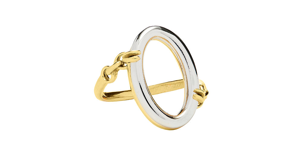 Signature Cleaved Mixed Gold Oval Ring 18KMG