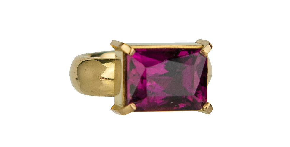 Pink Princess Cut Tourmaline Ring 18KY