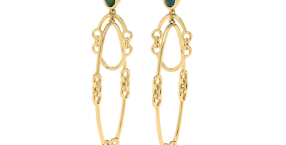Signature Chain Orbit Earrings with Tourmaline 18KY