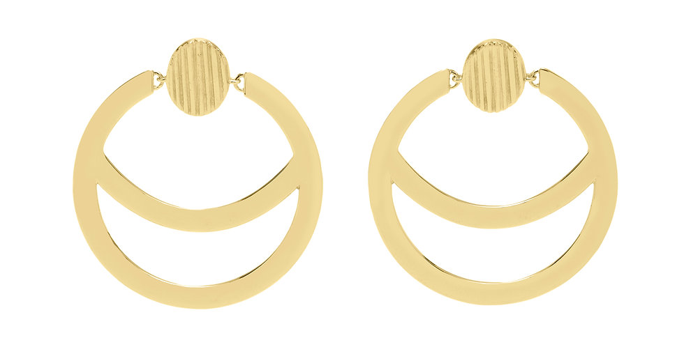 Icon Loulou Open Crescent Hoop Earrings 18KY