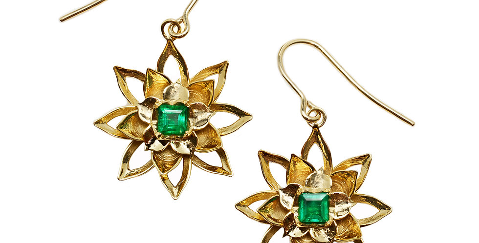 Lotus Emerald Drop Earrings on Wire 18KY