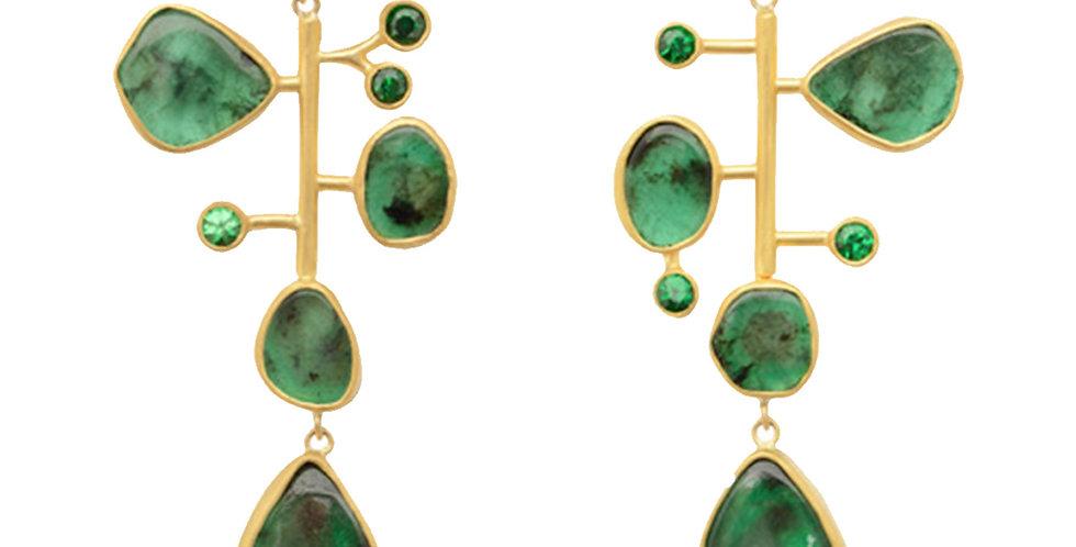 Kinetic Drop Earrings with Emerald & Tsavorite 22KY