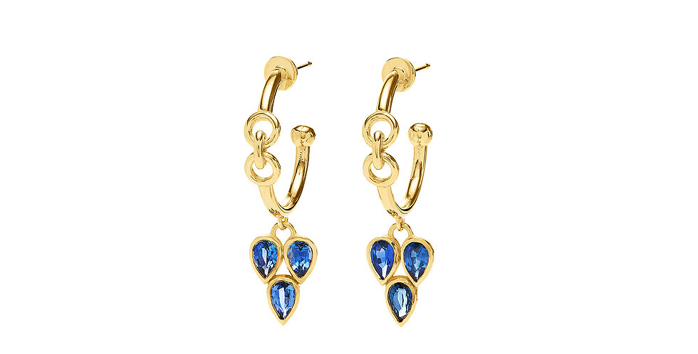 Signature Chain Pixie Hoop Earrings with Sapphires 18KY