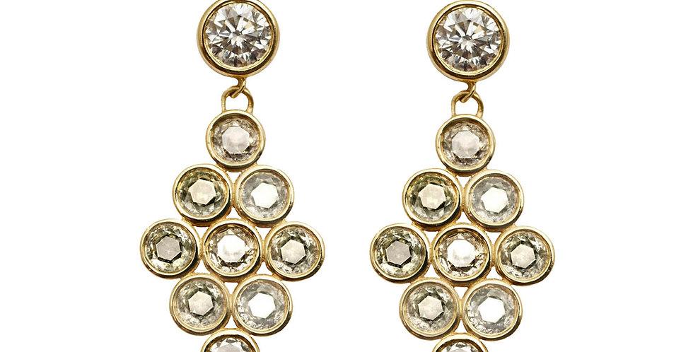 Diamond Bezel Drop Earrings 18KY