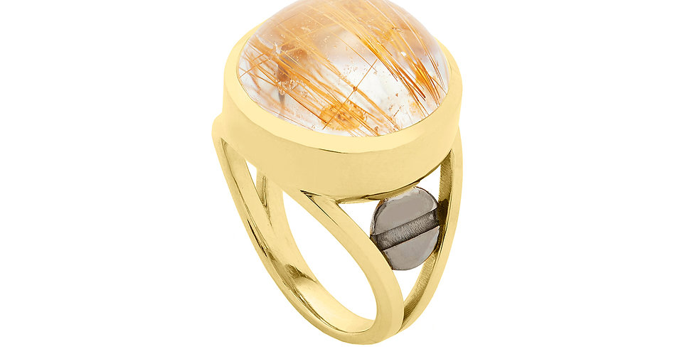 Space Between Rutilated Quartz Ring 18KY