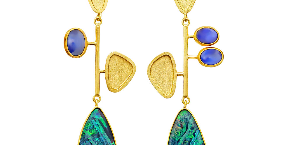 Kinetic Drop Earrings with Opal and Blue Sapphire Cabochons 18KY