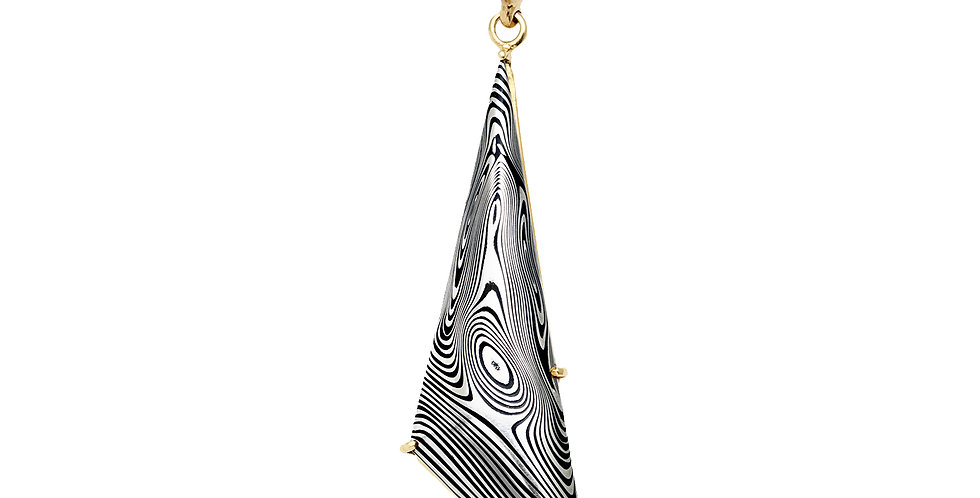 Damascus Steel Triangle Pendant 18KY