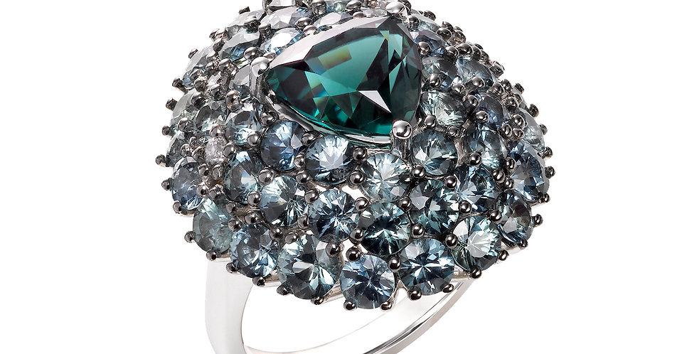Trilliant Teal Tourmaline, Denim Sapphires & Gray Diamond Ring 18KW
