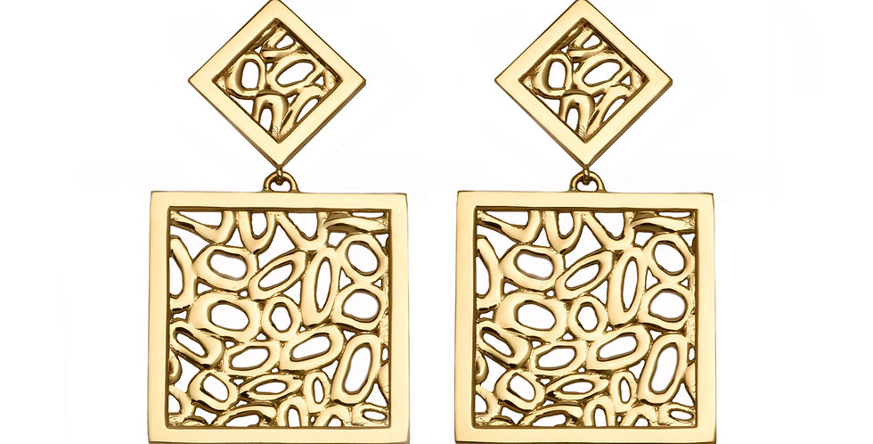 Secession Fret Square Earrings 18KY