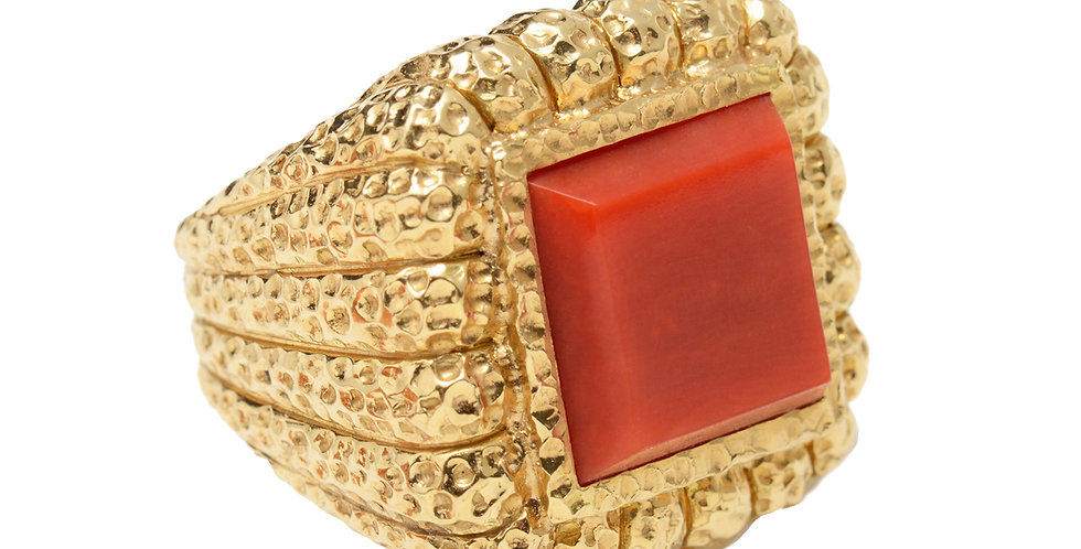 Square Coral Fluted Ring 18KY
