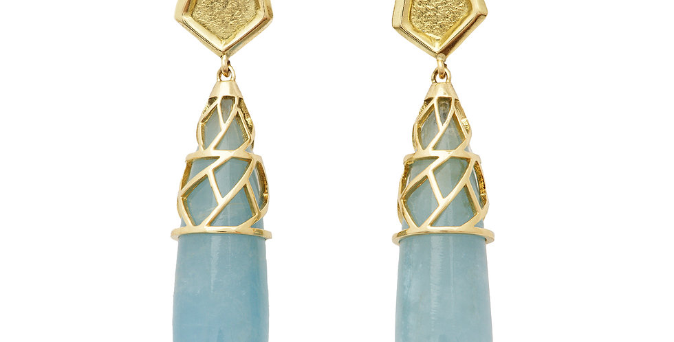 Aquamarine Drop Earrings with Cubist Cap 18KY