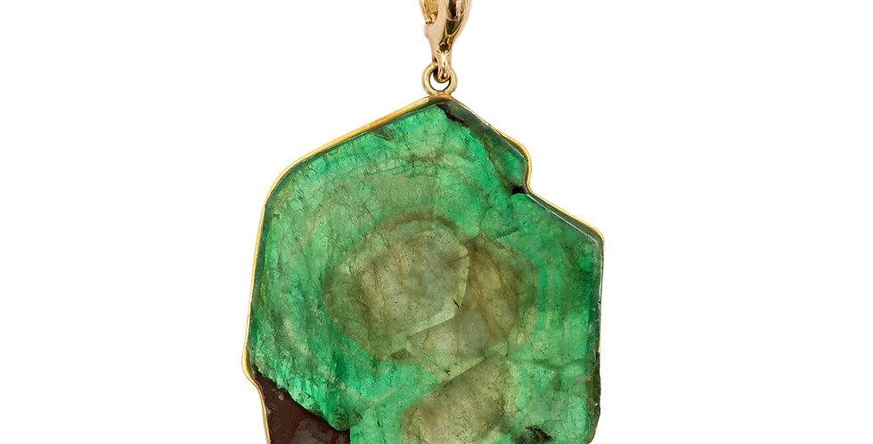 Emerald Slice Detachable Pendant 18KY