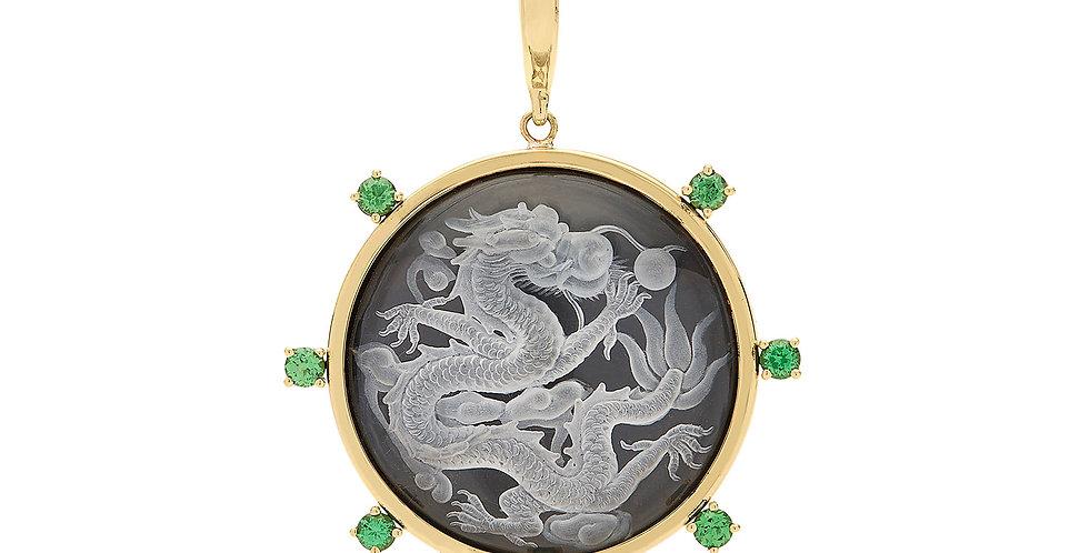 Crystal Dragon with Tsavorite Pendant 18KY