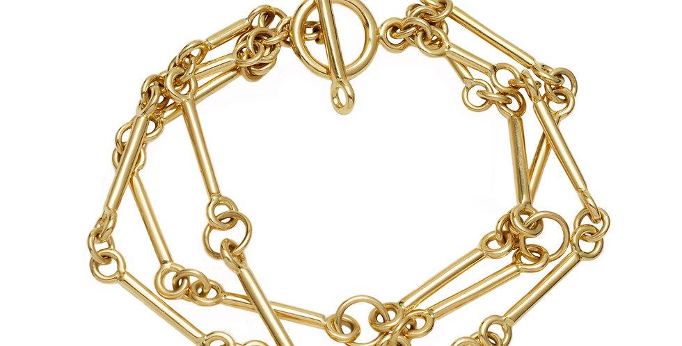 Signature Chain Charm Bracelet 3 Strand 18KY
