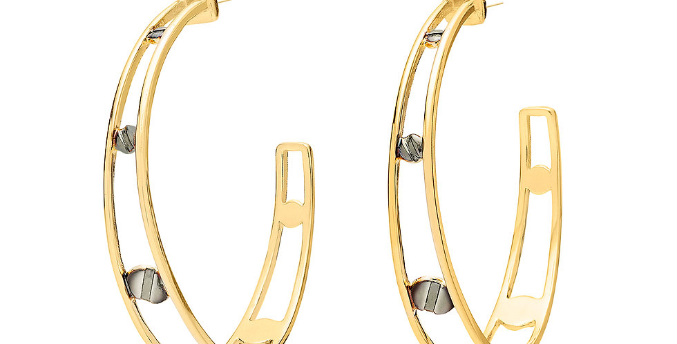 Space Between Rivet Hoop Earrings Black Rhodium