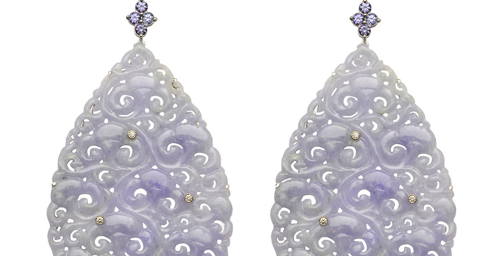 Lavender Jadeite with Diamonds, Tanzanite, and Amethyst Statement Earrings 18KY