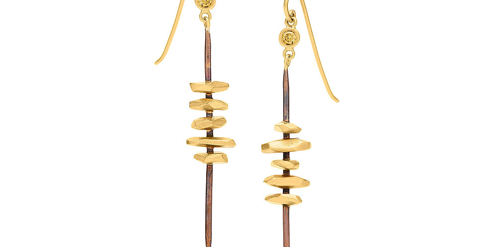 Totem Earrings with Fancy Yellow Diamonds, Bronze and 22KY