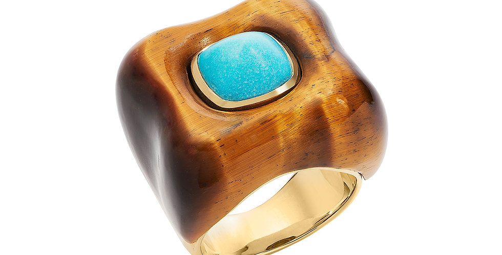 Draper Ring with Tigers Eye and Turquoise 18KY