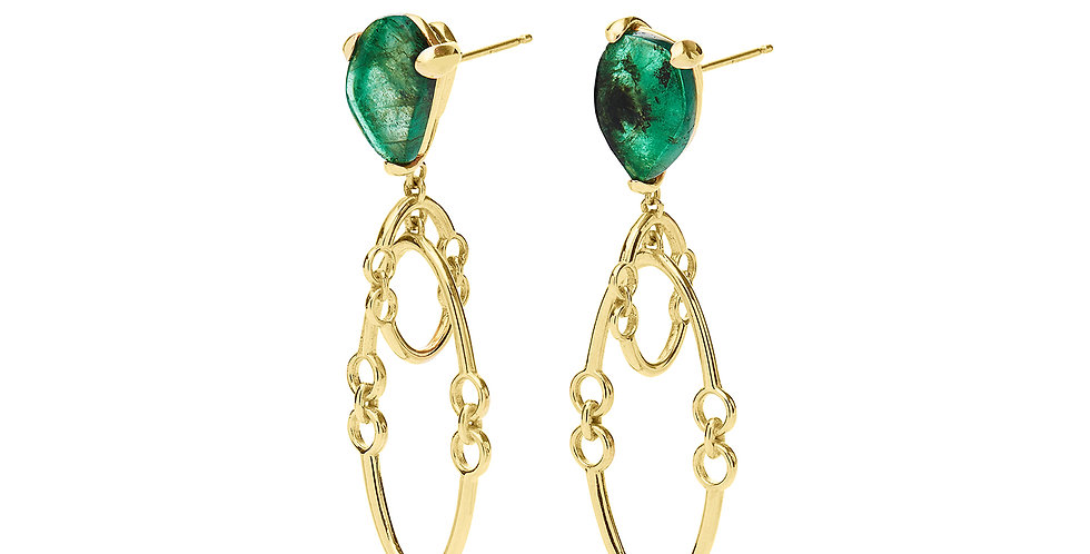 Signature Midi Orbit Earrings with Emeralds 18KY