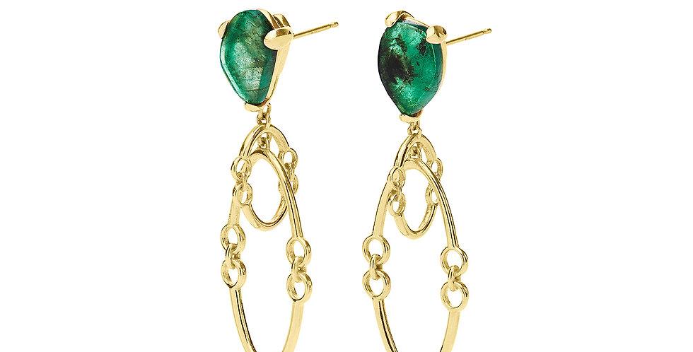 Signature Midi Orbit Earrings with Emeralds 18KY