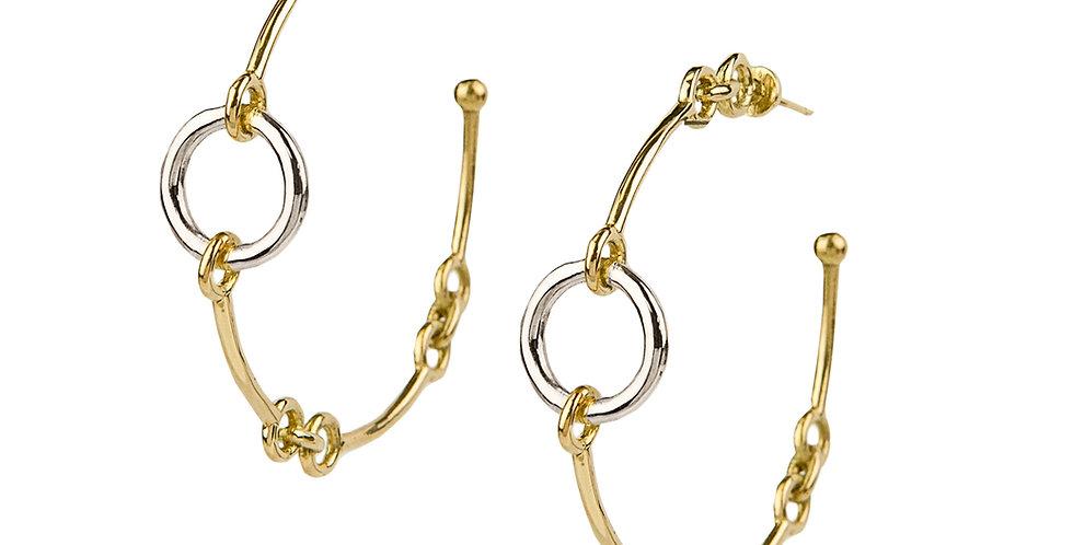 Signature Chain Mixed Gold Hoop Earrings 18KMG