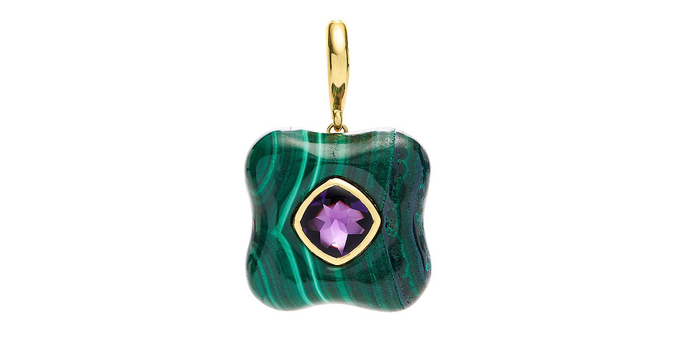 Draper Pendant with Amethyst and Malachite 18KY
