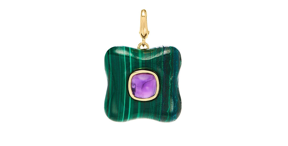 Draper Charm with Malachite and Amethyst
