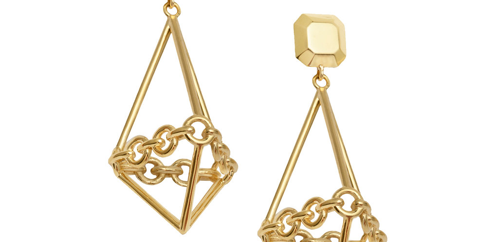 Signature Chain Terrarium Drop Earrings with Gem Shaped Tops 18KY