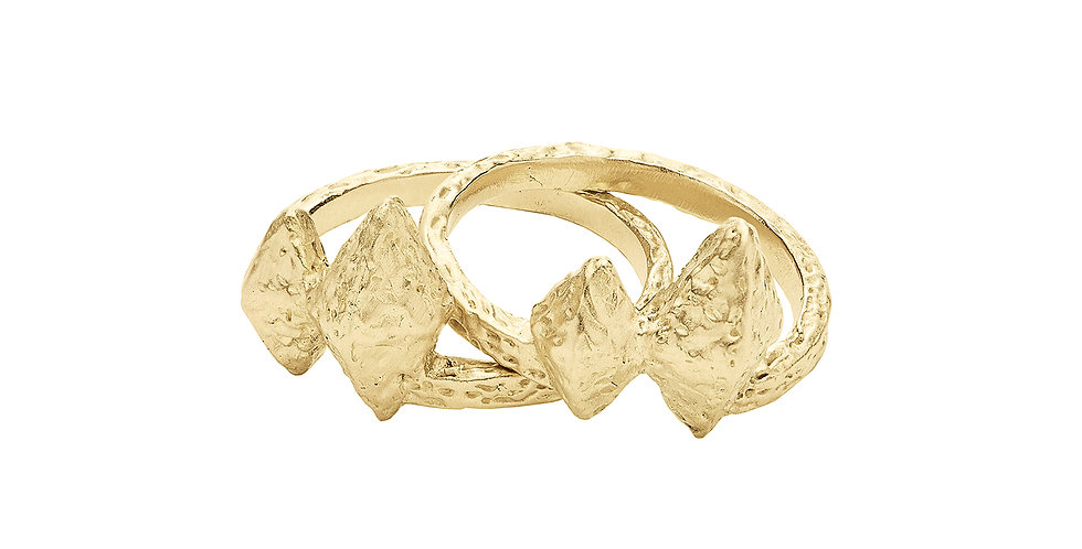 Icon Geo Stack Rings 18KY